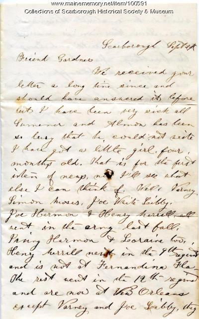 Clara Moses letter to soldier, Scarborough, ca 1862 - Maine Memory