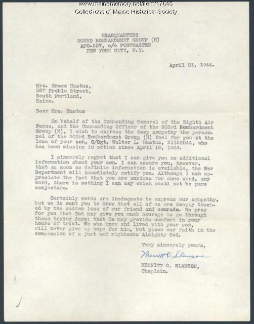 Army letter concerning missing soldier, 1944 - Maine Memory Network