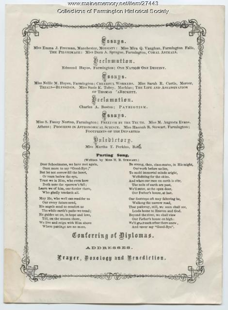 Maine State Normal School Souvenir Graduation Program, 1936 Replica