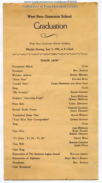 West Peru Grammar School Graduation program, 1950 - Maine Memory Network