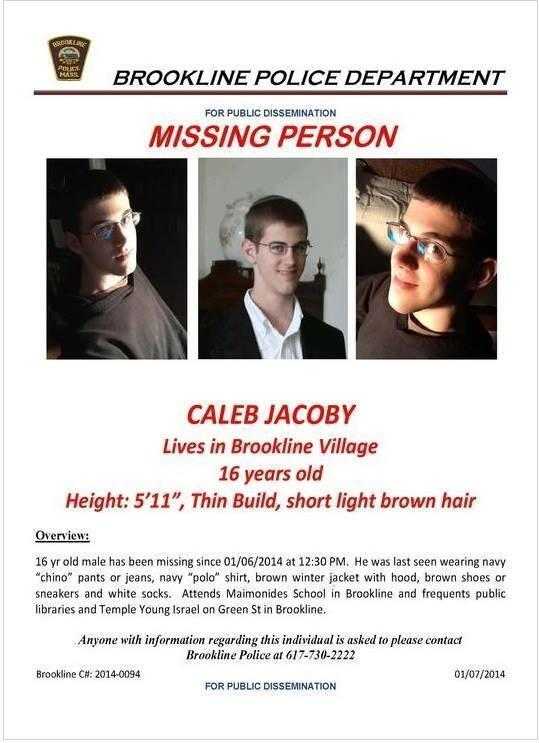Volunteers search for missing Brookline teenager Caleb Jacoby, son