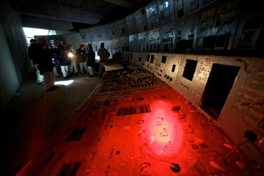 The shattered remains of the control room for Reactor No. 4 are seen at the Chernobyl nuclear power plant in Ukraine on Feb. 24, 2011. The reactor exploded on April 26, 1986, spewing fallout in the world's worst nuclear accident. // Mikhail Metzel / AP