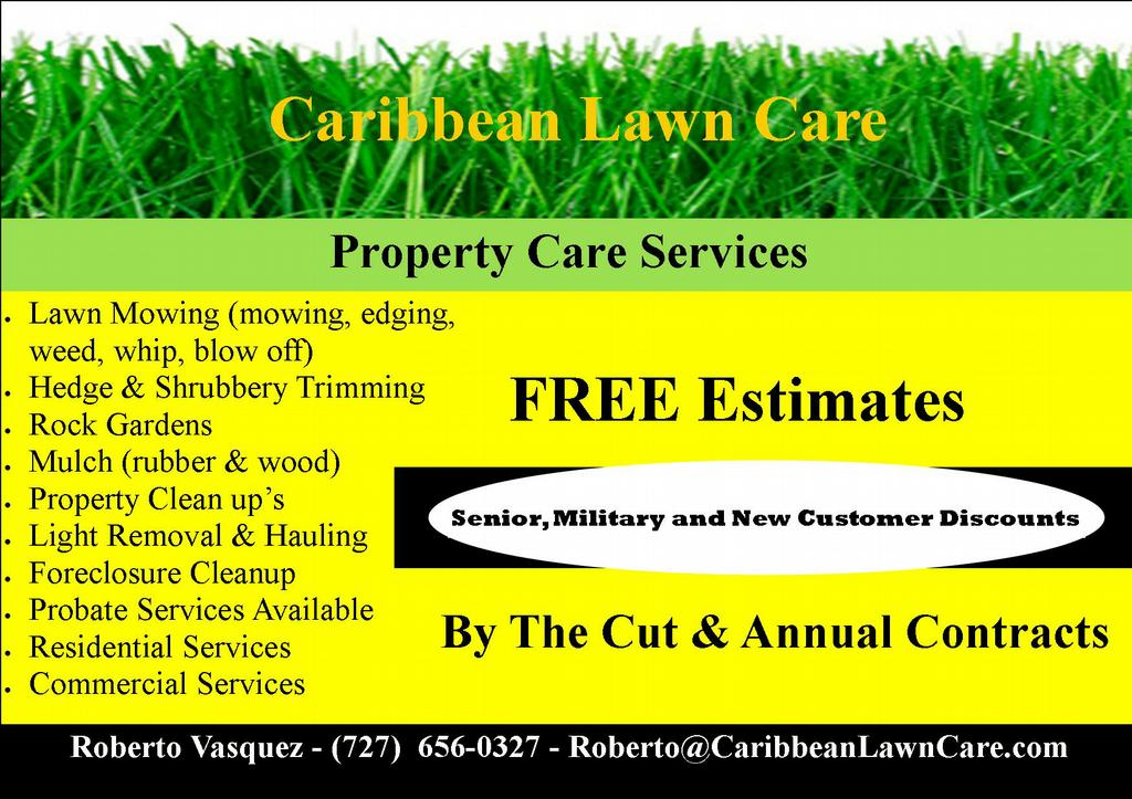 carib flyer 2jpg from Caribbean Lawn Care in Clearwater, FL 33760 - lawn services flyer