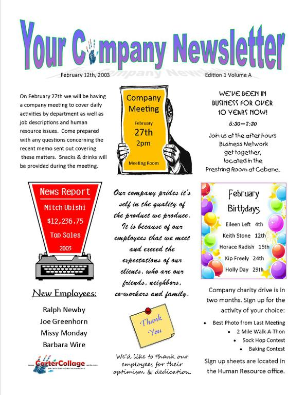 example of newsletter for company - Ozilalmanoof