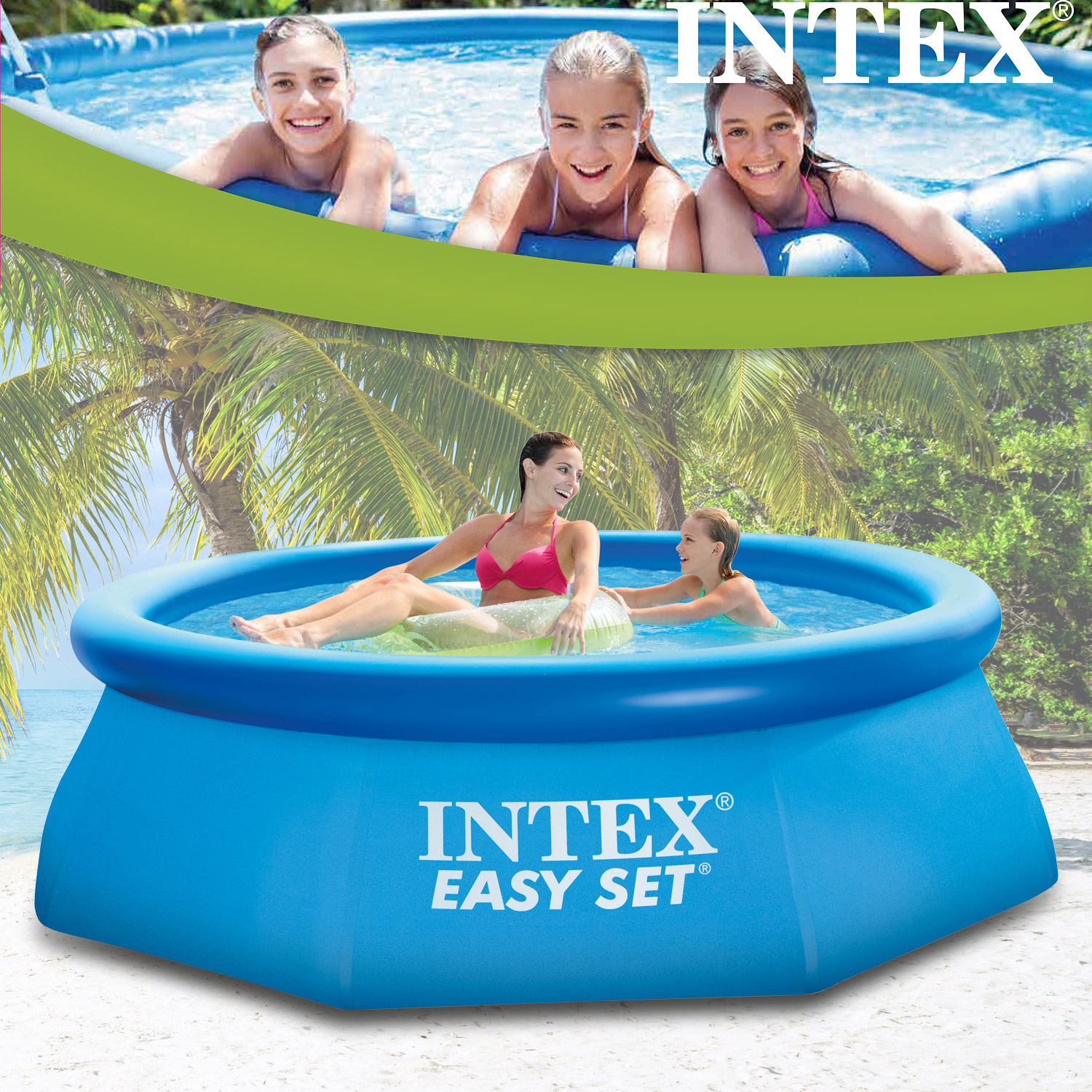 Pool Filteranlage Luft Intex 305x91 Cm Swimming Pool Quick Up Schwimmbecken