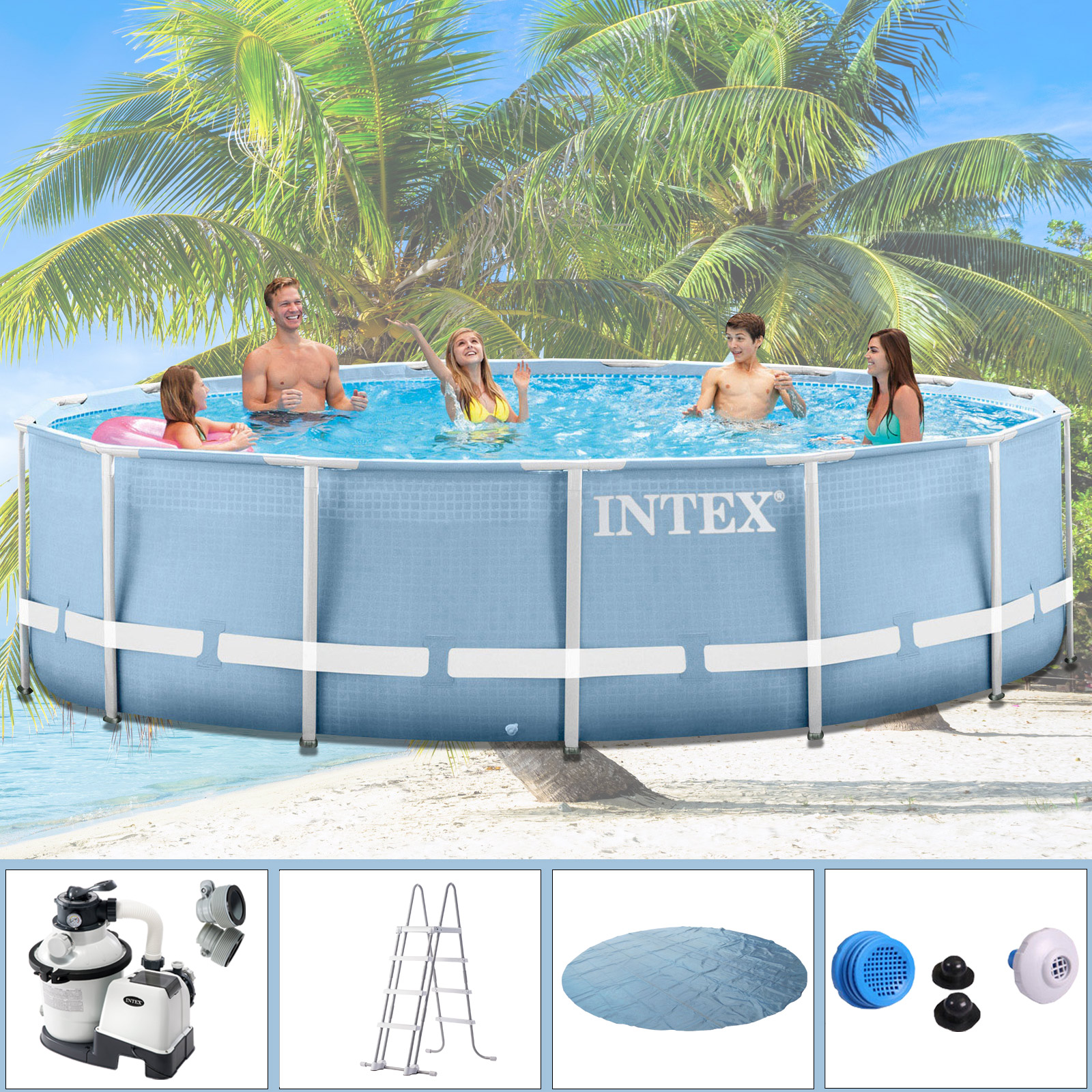 Intex Pool Komplettset Mit Sandfilteranlage Intex 457x122 Komplettset Swimming Pool Schwimmbad Frame