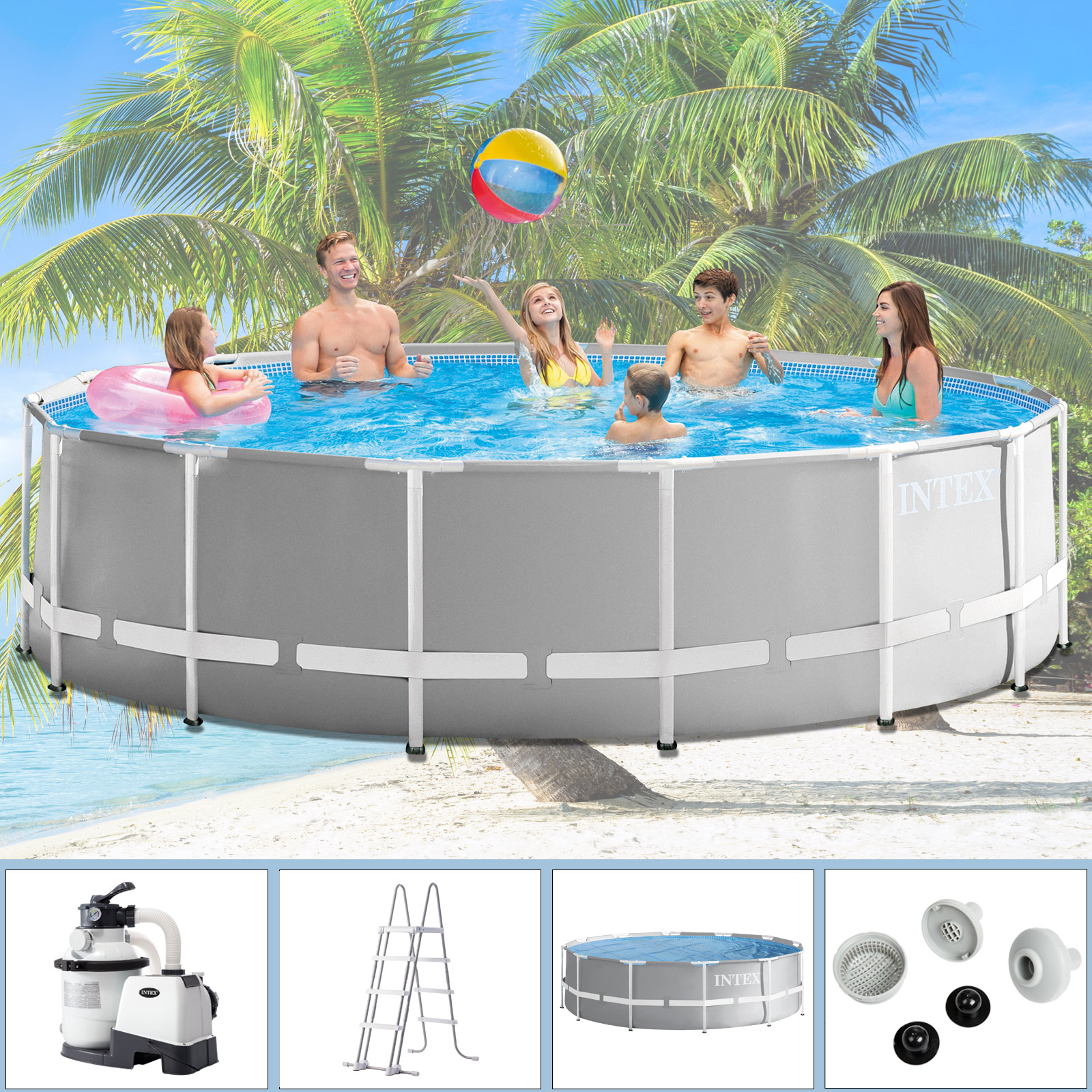 Pool Solarfolie Schwarz Intex Swimming Pool Frame 457x122 Cm Mit Sandfilter