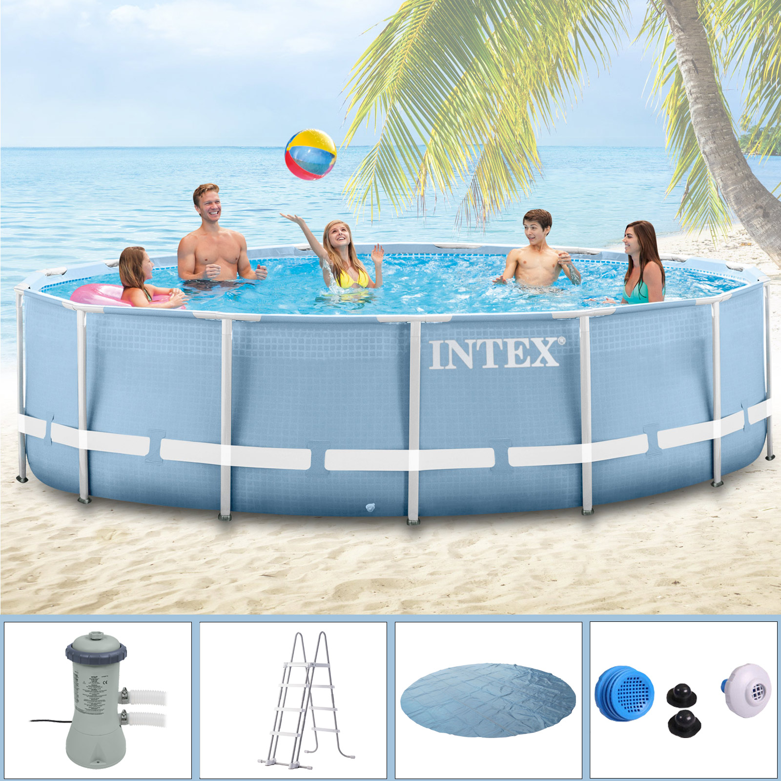 Filterpumpe Pool Entleeren Intex Swimming Pool Frame 457x122 Cm Mit Pumpe Leiter Solarfolie