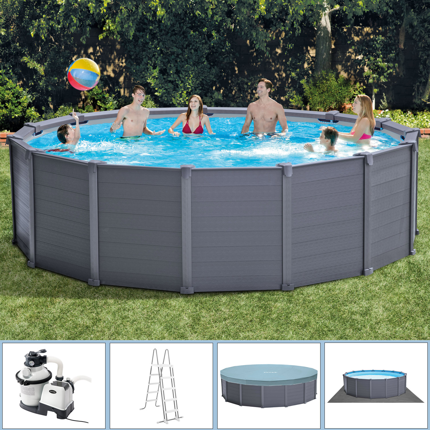 Pool Rund Komplett Intex Ø 478 X 124 Cm Frame Pool Komplett Set Graphit Mit