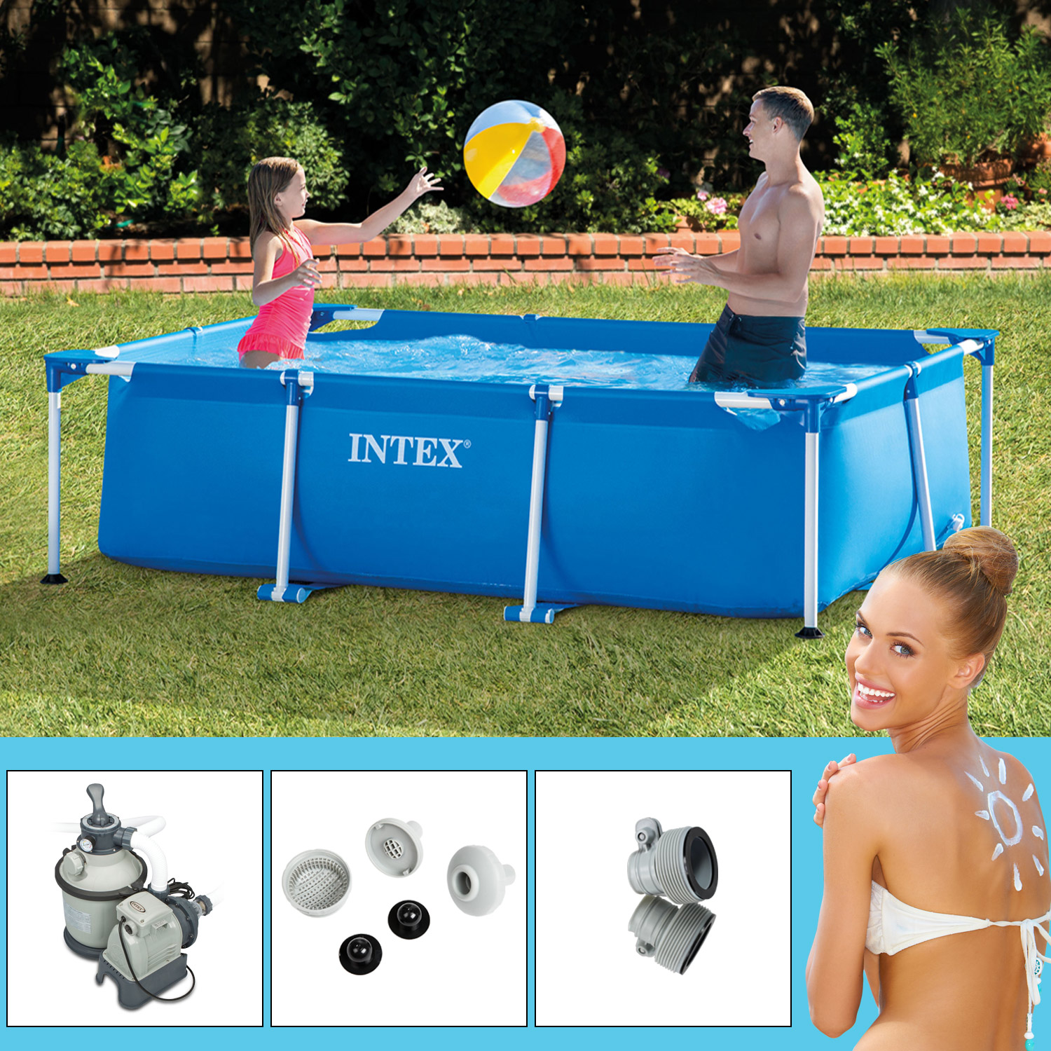 Sandfilteranlage Pool Zeitschaltuhr Intex 300x200x75 Cm Swimming Pool Mit Sandfilter