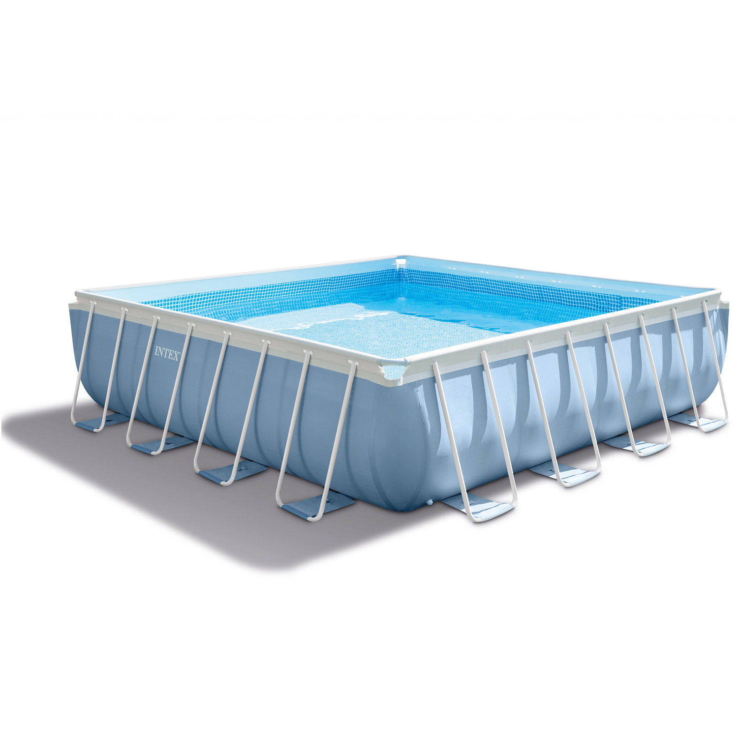 Quick Pool Komplettset Intex Swimming Pool Frame Prism Square 488x488x122 Cm