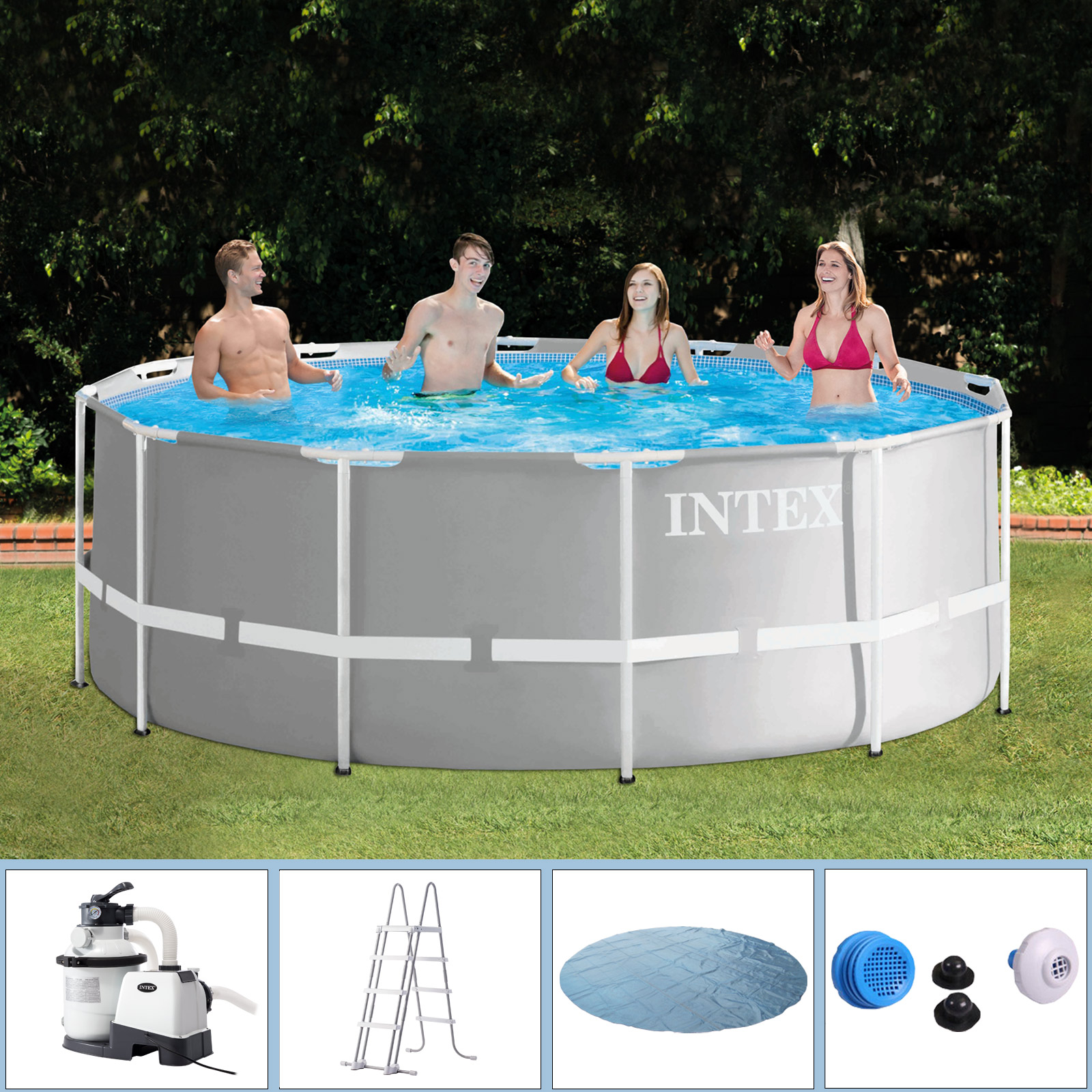 Jilong Pool Reinigungsset Intex Swimming Pool Frame 366x122 Cm Mit Sandfilter Leiter Solarfolie