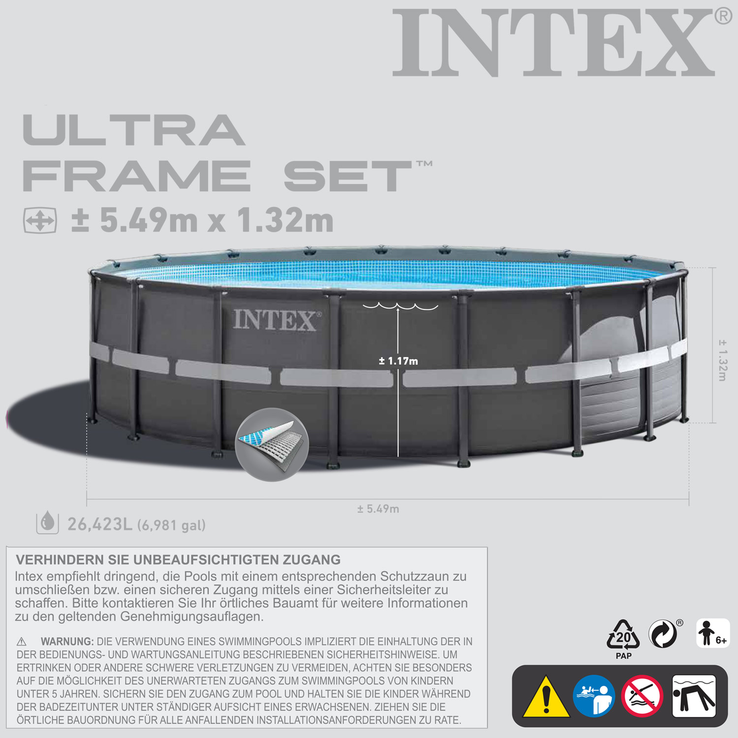 Intex Pool Ohne Filteranlage Intex 28909 Ersatzpool 549x132 Cm Swimming Pool Frame Ohne