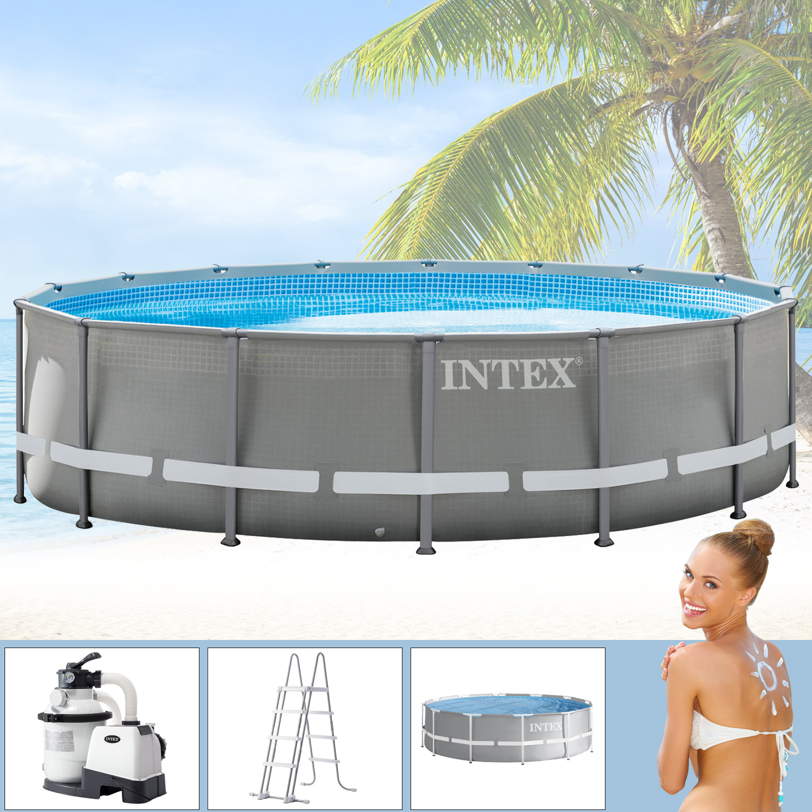 Solarfolie Für Pool Intex 488x122 Cm Swimming Pool Frame Set Mit Sandfilter Leiter