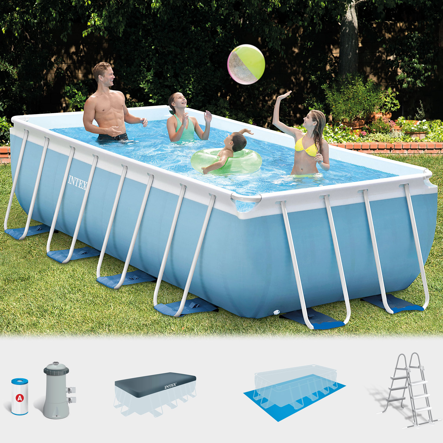 Pool Filteranlage Luft Intex Frame Pool Set Prism 488x244x107 Cm Pumpe Schwimmbad