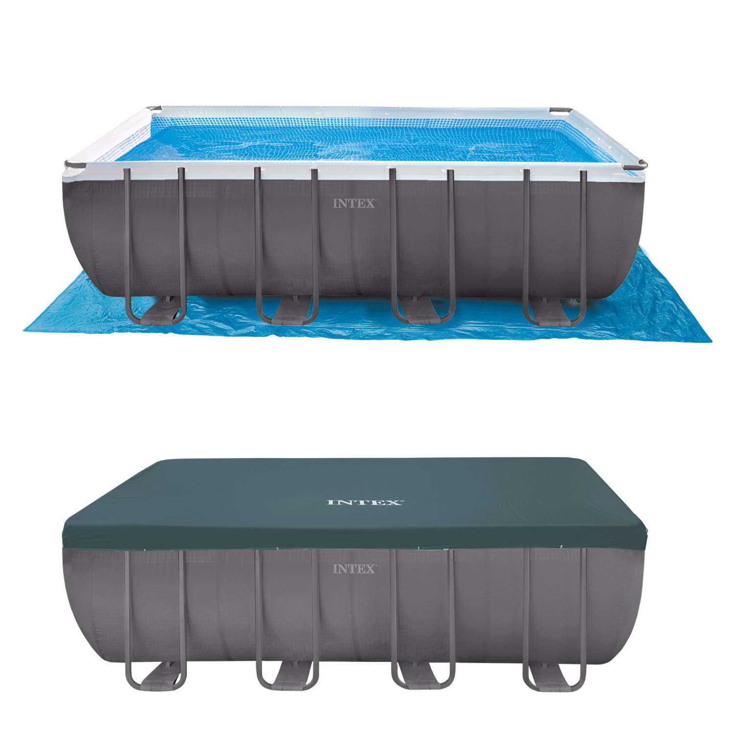 Sandfilteranlage Pool 25000 Liter Intex 549x274x132 Swimming Pool Set Rechteck Stahlwand