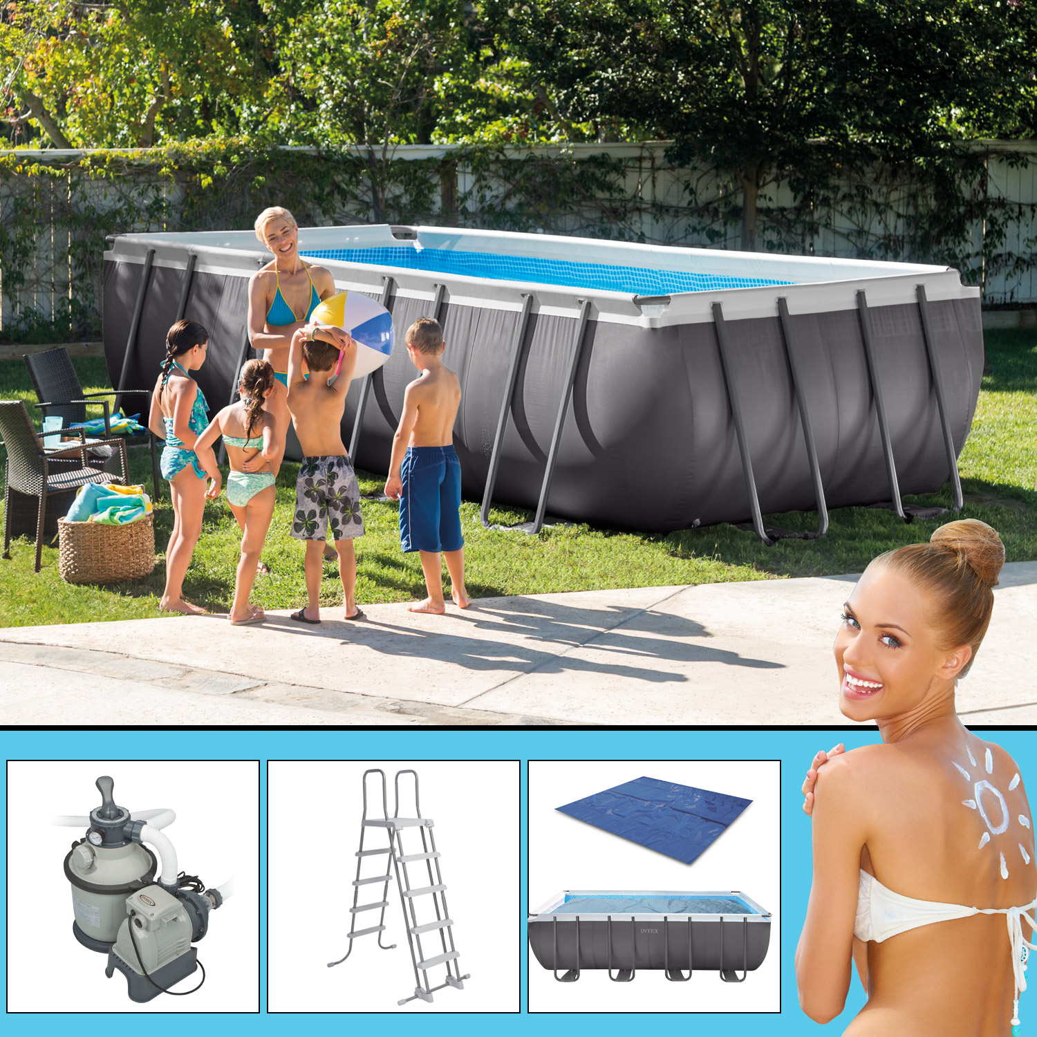 Solarfolie Für Pool Intex Swimming Pool Frame 549x274x132cm Mit Sandfilter