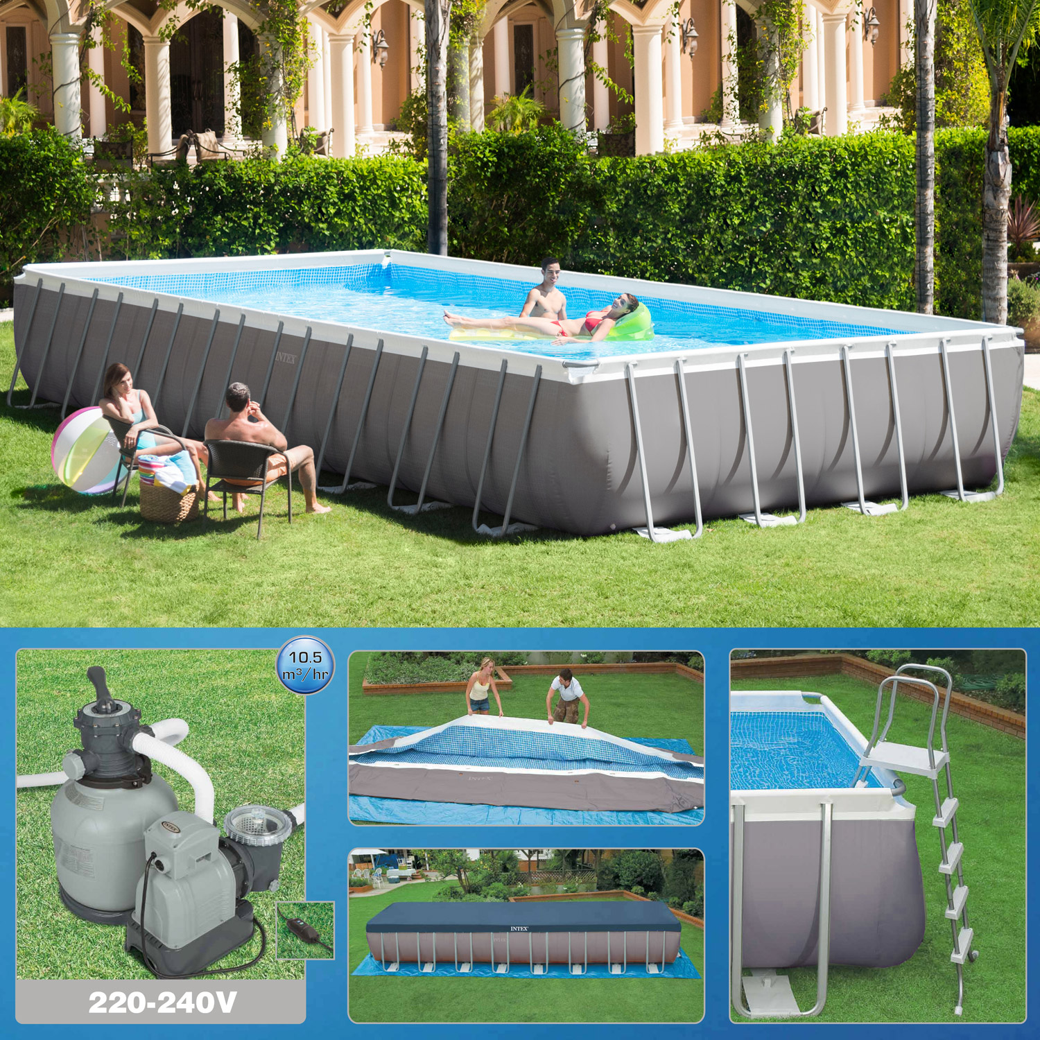 Pool Komplettset Intex Intex 975 X 488 X 132cm Swimming Pool Rechteck Stahlwand