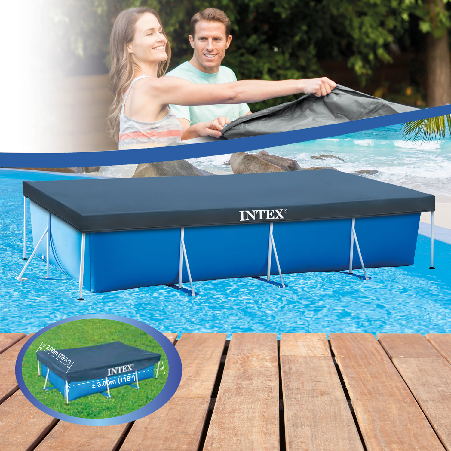 Abdeckplane Intex Pool Rechteckig Intex Abdeckplane Frame Pool Family 300 X 200 Cm