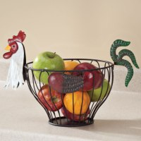 Rooster Fruit Basket Kitchen Storage Bowl Vintage Country ...