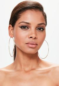Gold Large Thin Hoop Earrings   Missguided