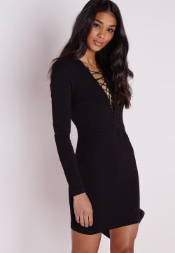 Incredible Crepe Lace Up Front Mini Dress Black Crepe Lace Up Front Mini Dress Black Missguided Lace Up Dress Sandals Lace Up Dresses Front
