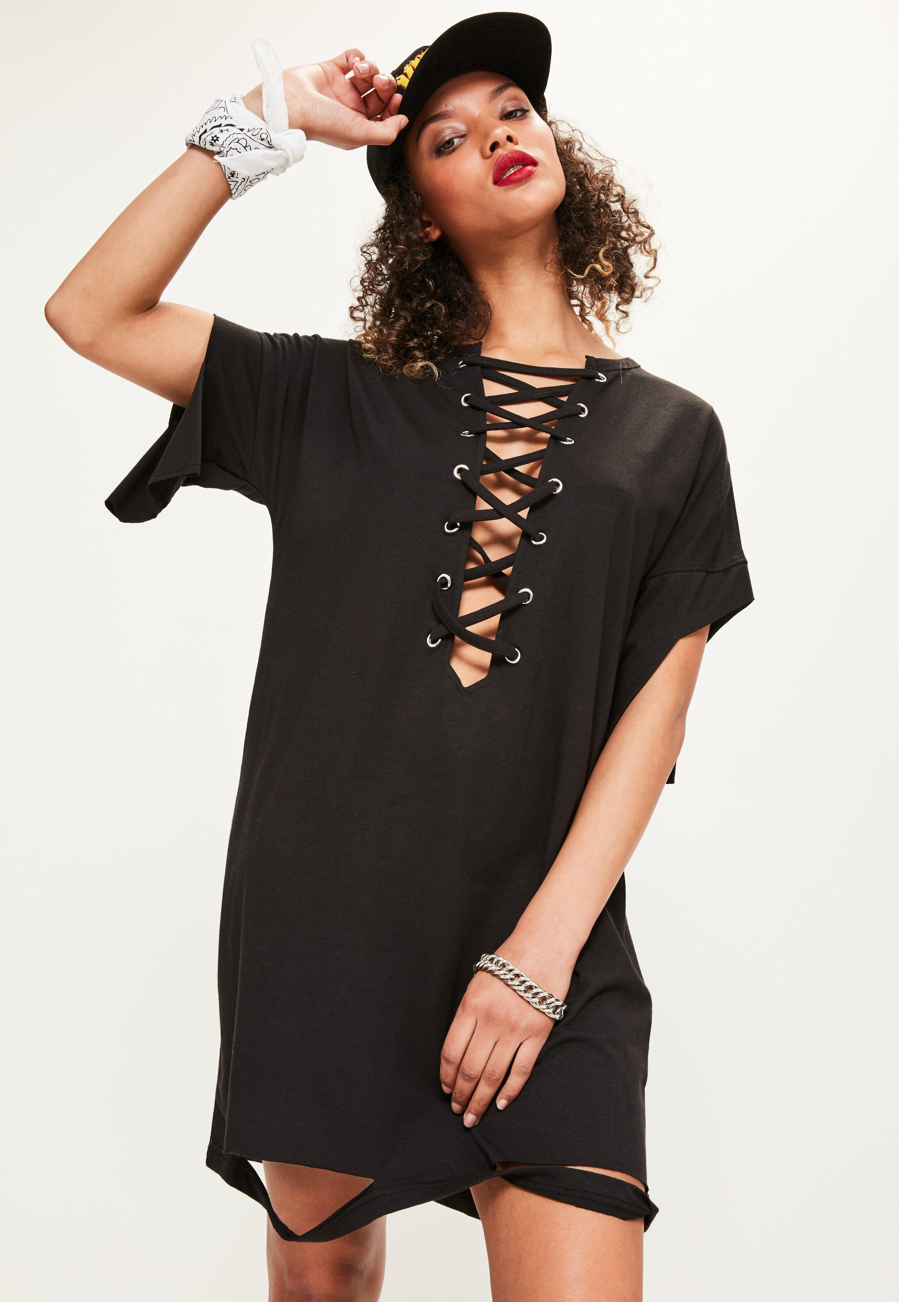 Black lace up distressed t shirt dress previous next