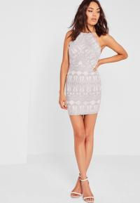 Lace Strappy Bodycon Dress Grey   Missguided