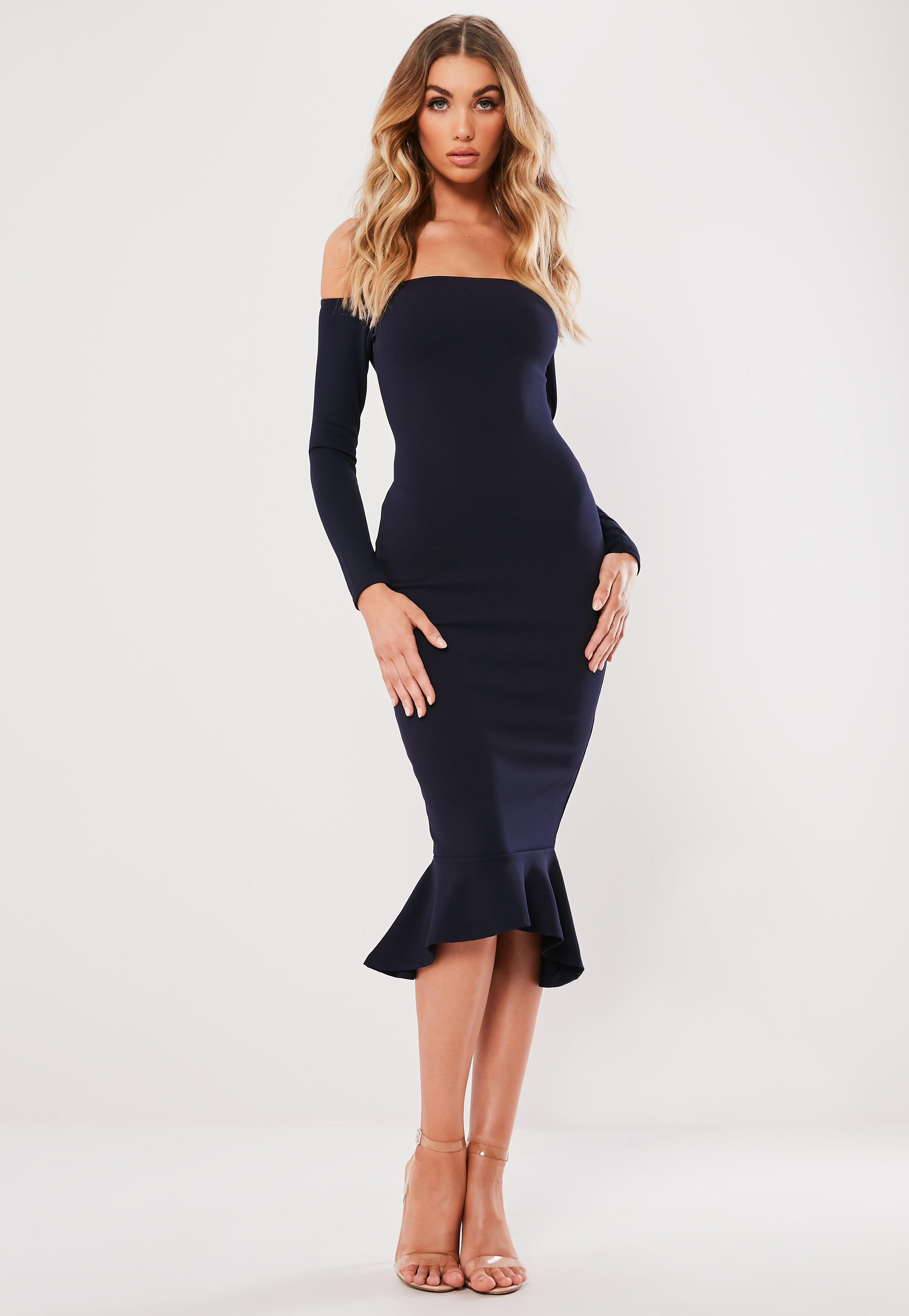 18 Geburtstag Party Outfit Navy Bardot Fishtail Hem Dress