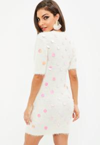 White Fluffy Mini Dress