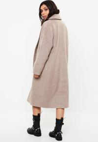 Beige Shawl Collar Midi Coat | Missguided