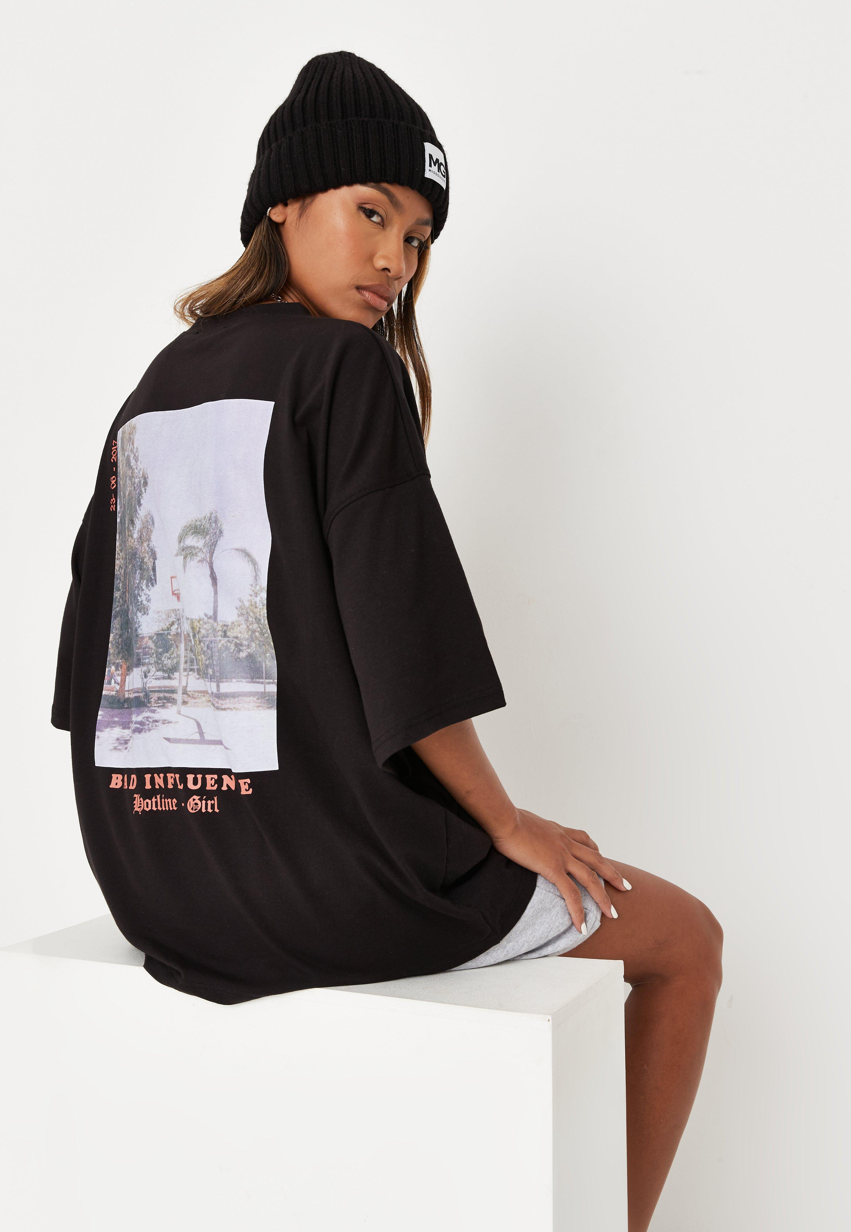 T Short Black Bad Influence Graphic Oversized T Shirt