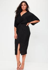 Plus Size Slinky Kimono Midi Dress Black | Missguided