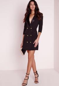 Petite Long Sleeve Tuxedo Dress Black | Missguided