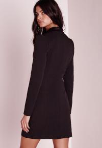 Petite Long Sleeve Tuxedo Dress Black | Missguided