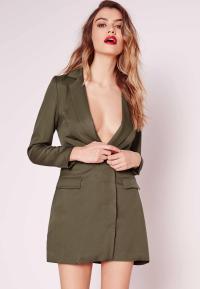 Petite Exclusive Long Sleeve Blazer Dress Khaki | Missguided