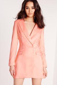 Petite Long Sleeve Blazer Dress Blush | Missguided