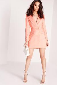 Petite Long Sleeve Blazer Dress Blush   Missguided