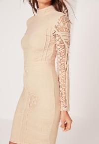 Petite Lace Long Sleeve High Neck Midi Dress Nude | Missguided