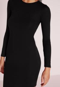 Petite Long Sleeve Jersey Bodycon Dress Black | Missguided