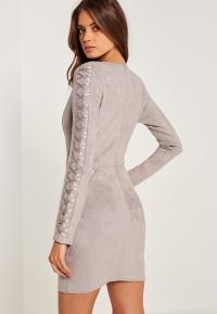 Petite Faux Suede Long Sleeve Bodycon Dress Grey | Missguided