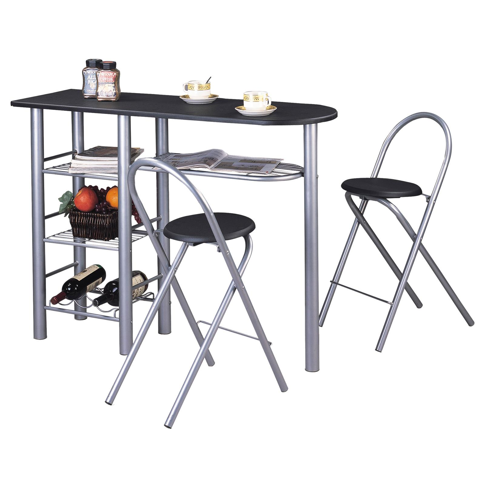 But Table De Bar Ensemble Table Haute De Bar Et 2 Chaises Style Noir Mat