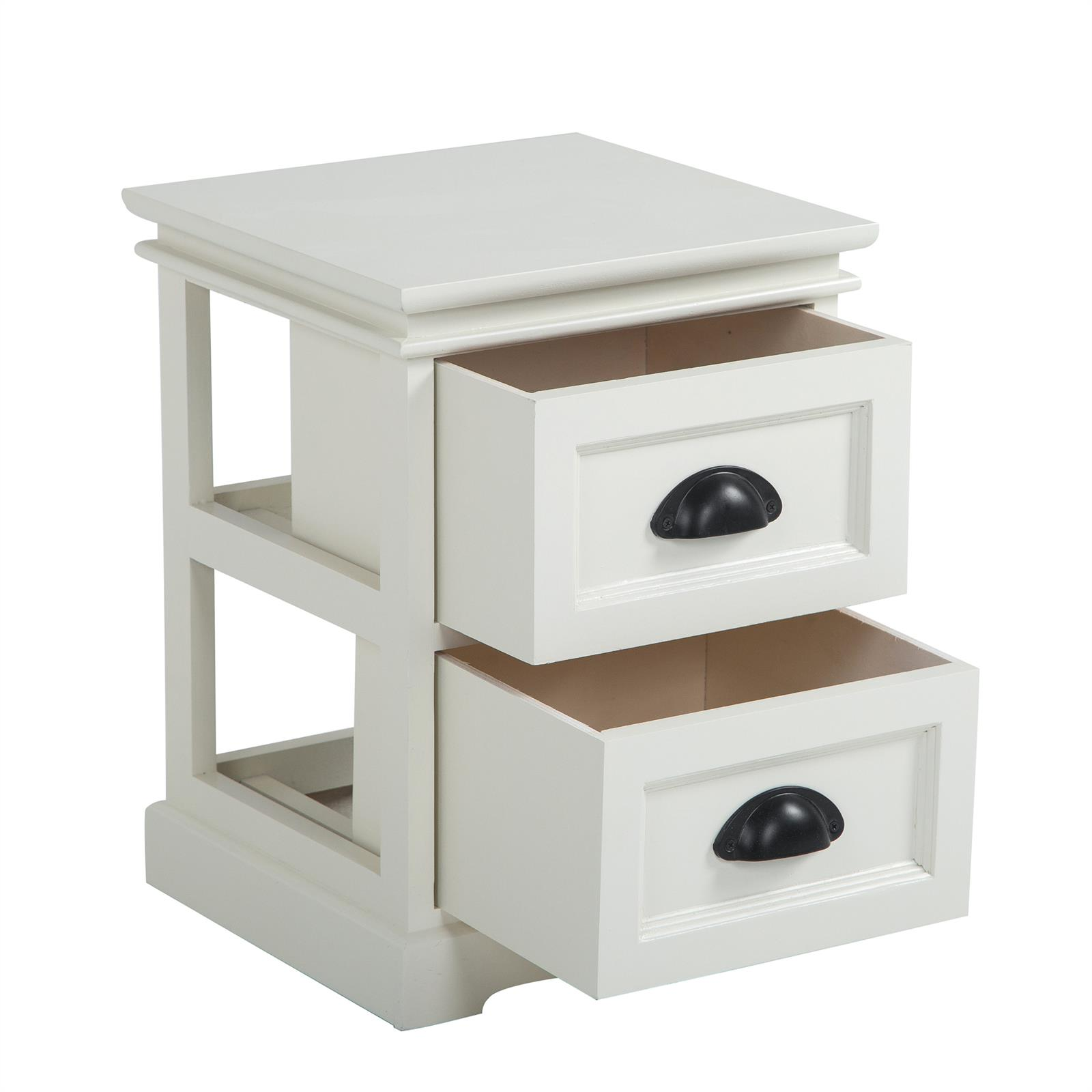 Meuble Chevet Table De Chevet Landhaus 2 Tiroirs Blanc