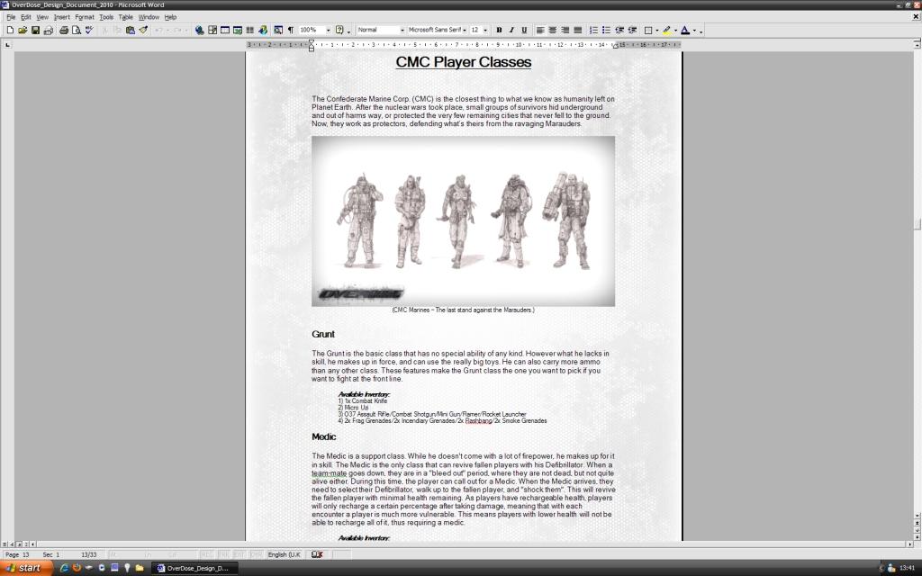 OverDose Design Document - 2010 file - Mod DB - design document