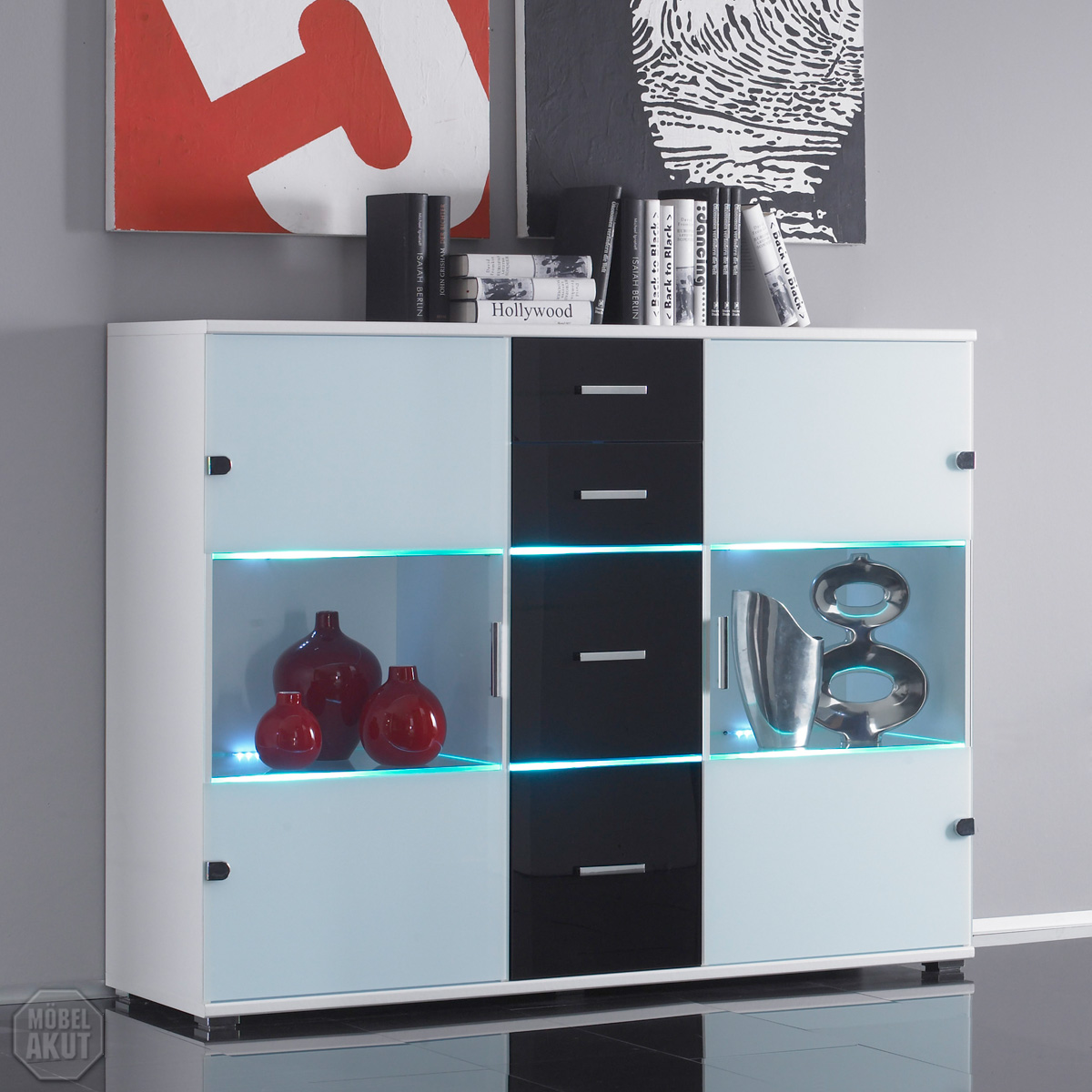 Sideboard Weiß Glas Highboard Quotspyro Quot Sideboard Weiß Glas And Schwarz 43 Led Ebay