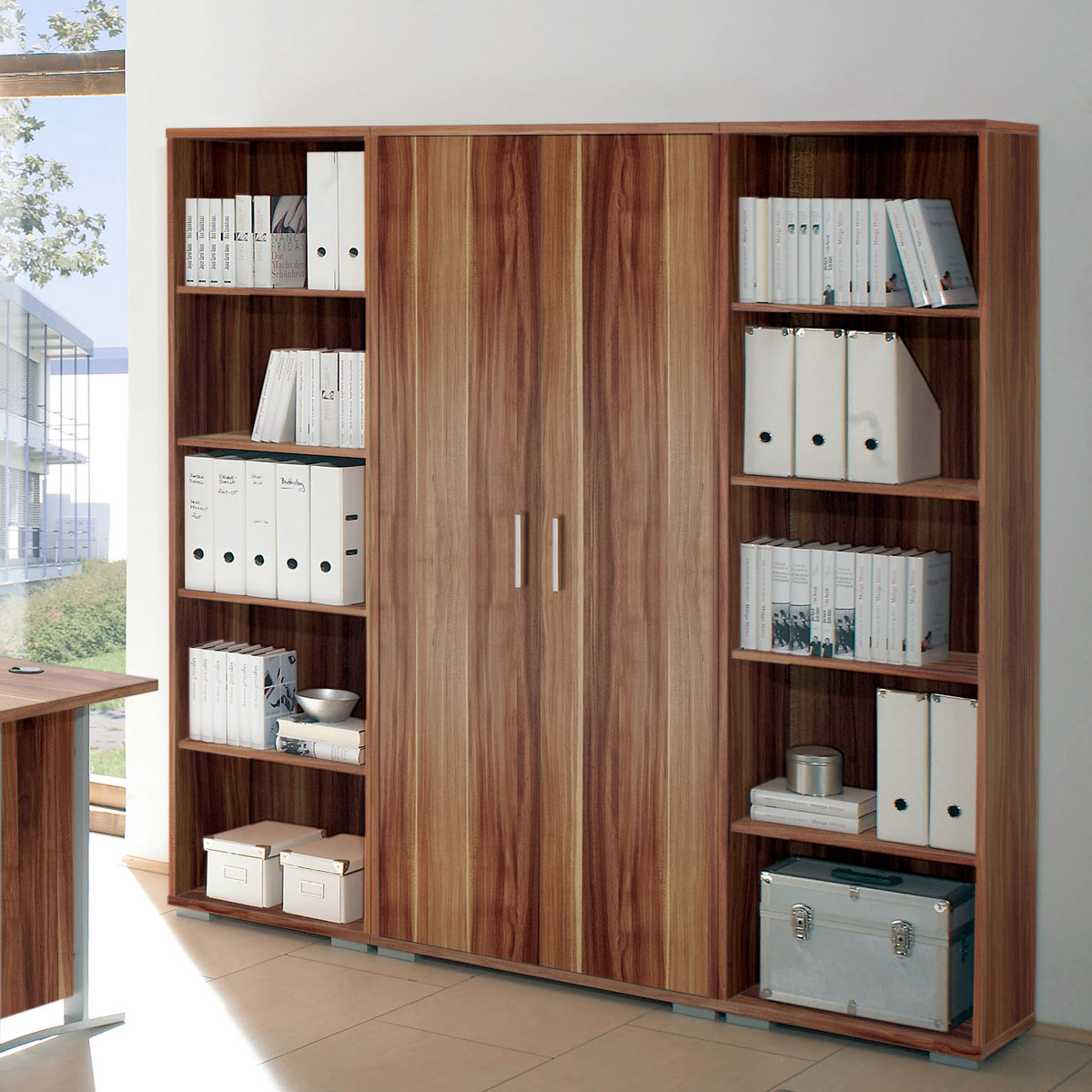 Büro Regalwand Regalwand Office Line Biz Regal Schrank In Walnuss Dekor