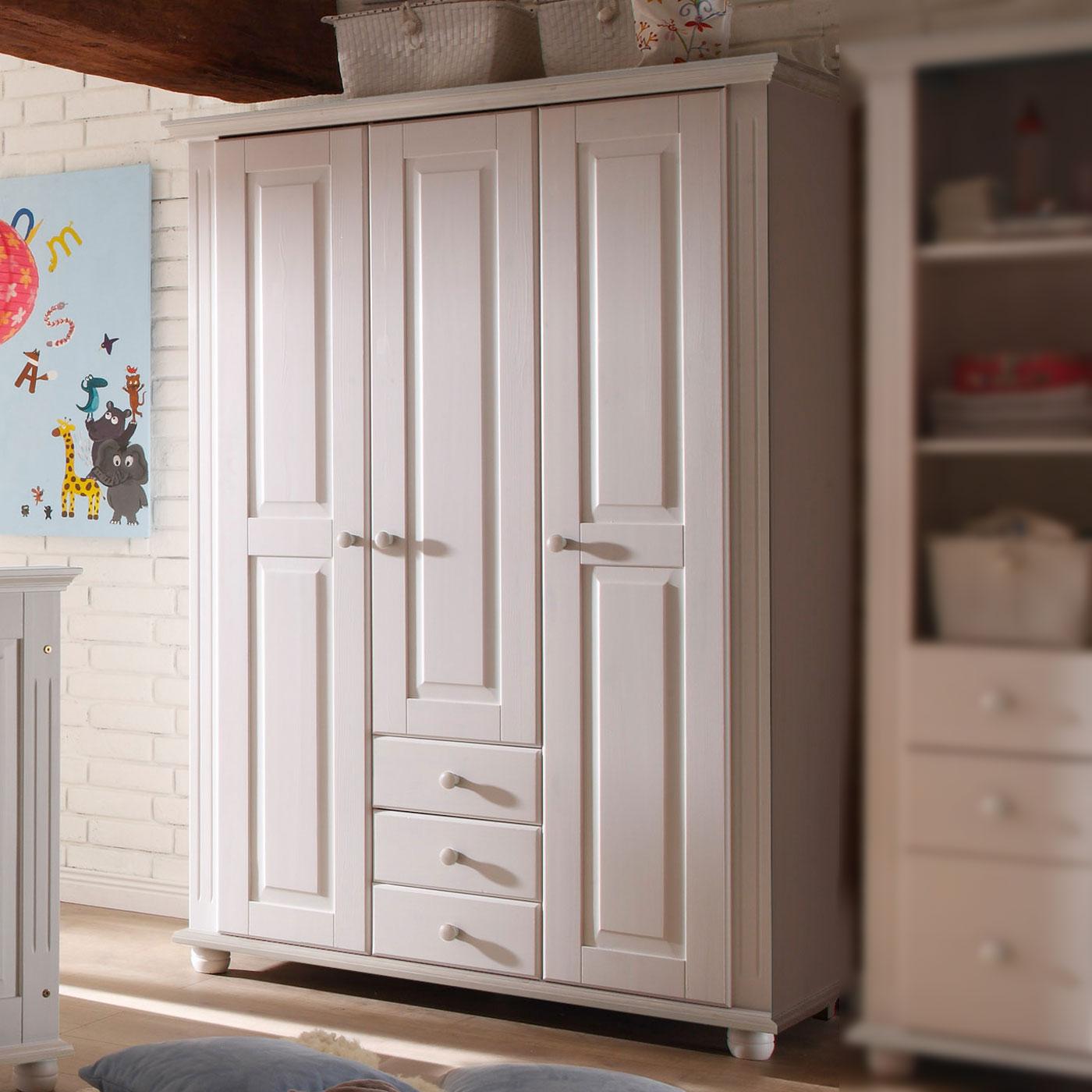 Kleiderschrank Fürs Kinderzimmer Aus Weißer Fichte Nina: Kinderzimmer Kleiderschrank