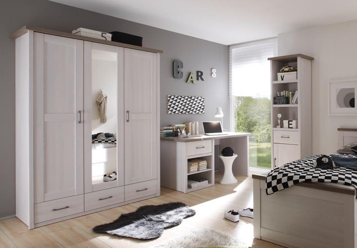 Schlafzimmer Luca Pinie Weiß Set Komplett 4 Tlg