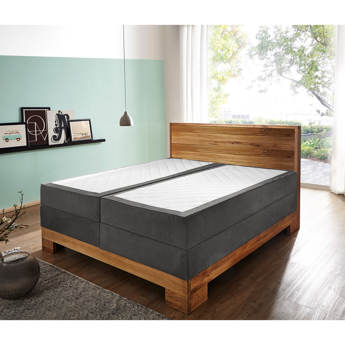 Boxspringbett Your Home Boxspringbett Grau Stoff Boxspringbett Bellevue Stoff