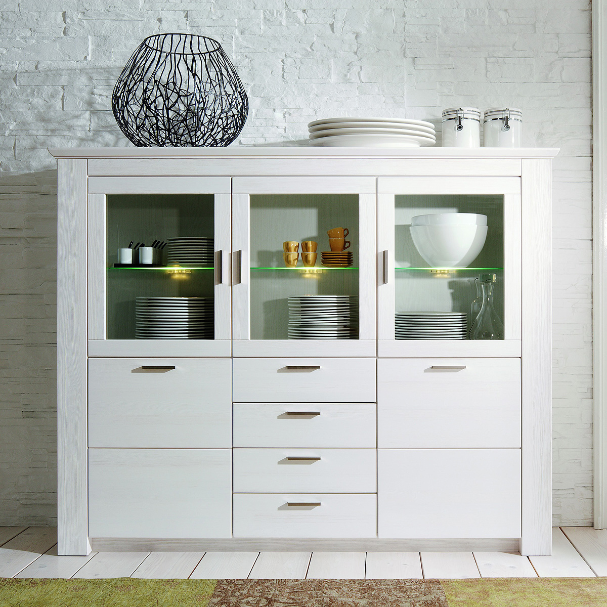 Vitrine Landhaus Highboard Country Buffet Schrank Vitrine Landhaus In Pinie